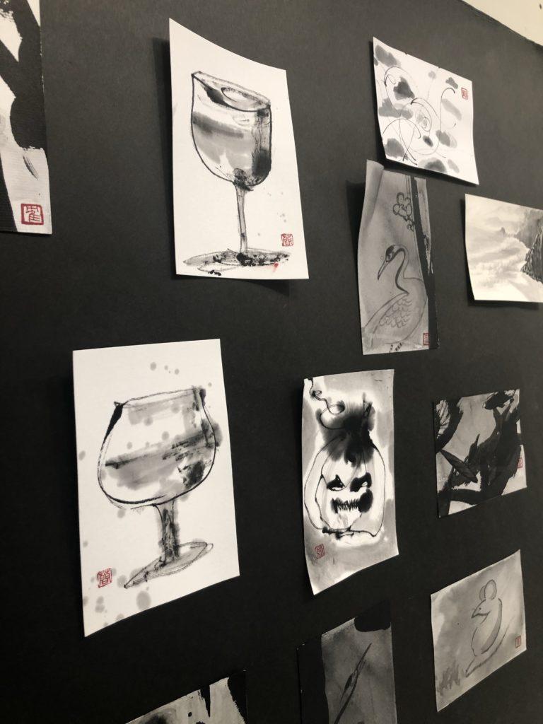 水墨画ポストカード展示風景